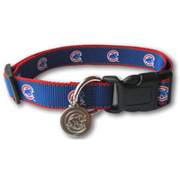 Chicago Cubs MLB Reflective Nylon Collar with ID Tag