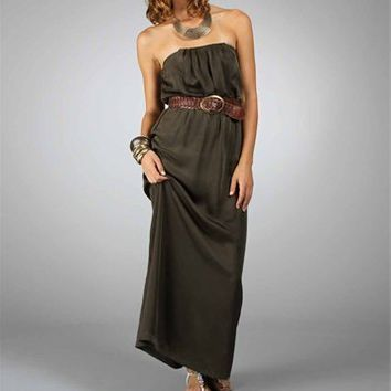 Olive Silky Maxi Dresses