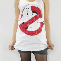 GHOSTBUSTERS 1984 American Supernatural Comedy Film Shirt Women Tank Top Tunic Top Vest Women Singlet Sleeveless White Shirt Size S M