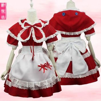 The Game LOL The Dark Child Annie Little Red Riding Hood Maid Costume Cosplay High Quality+Free Shipping F