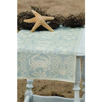 Heritage Lace Light Blue & Cream Damask Crab Beach Nautical Theme Table Runner