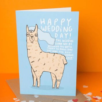 Wedding Llama Funny Happy Wedding Day Card FREE SHIPPING