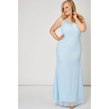 Powder Blue Maxi Prom Dress with Mesh Beaded Lace Overlay