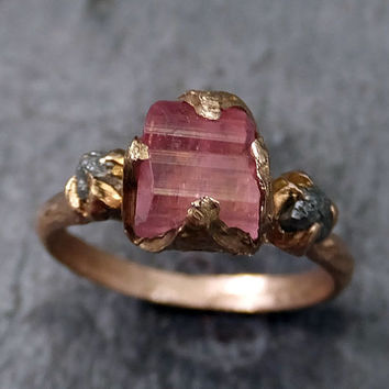 Raw Pink Tourmaline Diamond 14k Rose Gold Engagement Ring Wedding Ring One Of a Kind Gemstone Ring Bespoke Three stone Ring byAngeline