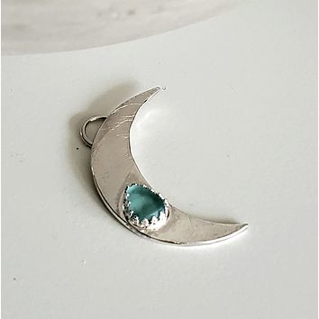 Sea Glass Crescent Moon Necklace