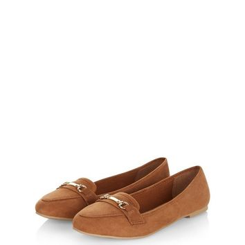 Tan Suedette Bar Strap Loafers