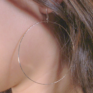 Large Silver Hoop Earrings / Large Hammered Dangle Hoops / Argentium Sterling Silver Hoops / Simple Classic  Handmade Light and Lovely