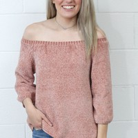 Softest Knit Off Shoulder Sweater {Dusty Pink}