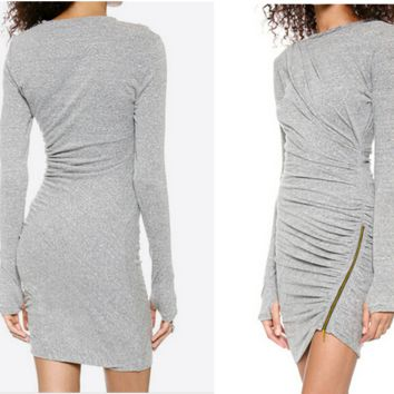 Grey Long Sleeves Ruched Zipped Bodycon Asymmetric Dress