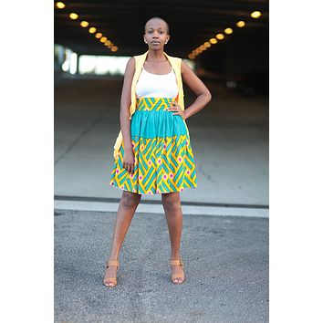 African Print Midi Flare Skirt - Teal/Orange /Pink Geometric Print