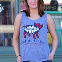 Arkansas Flag Proud Pig Tee Tank by SOUTHERN TREND {Athletic Grey}