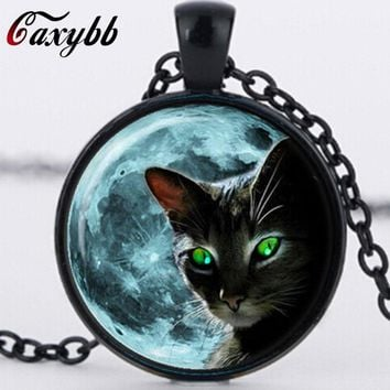 Cat Necklace Black Cat Glass Moon Necklaces Blue Moon Necklaces  for women