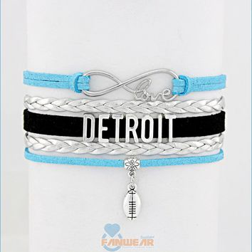 DETROIT Football Infinity Love Bracelet