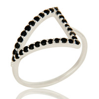 Natural Black Spinel Gemstone Pave Set Sterling Silver Trillion Halo Ring