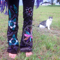 patchwork mandala pants, bell bottom festival clothing