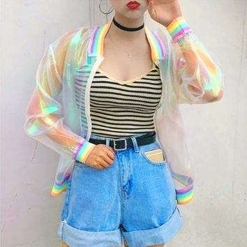 Translucent Rainbow Hologram Jacket