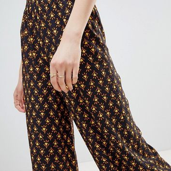 Reclaimed Vintage inspired wide leg pants in tile print at asos.com