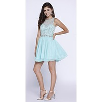 Sleeveless Illusion Short Homecoming Dress Cut Out Back Mint Green