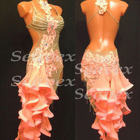 Ballroom Multi-Color Sexy Latin Cha Cha Ramba Samba UK12/US10 Dance Dress#L2031