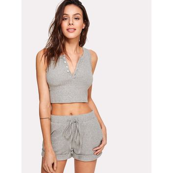 Button Front Crop Ribbed Top And Shorts Co-Ord