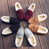 Warm thickening doug shoes with velvet flats lazy loafers Full color