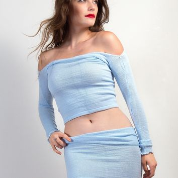 Sexy Sweater Set Off Shoulder Stretch Knit Top & Tube Skirt by KD dance New York Cozy & Fashionable