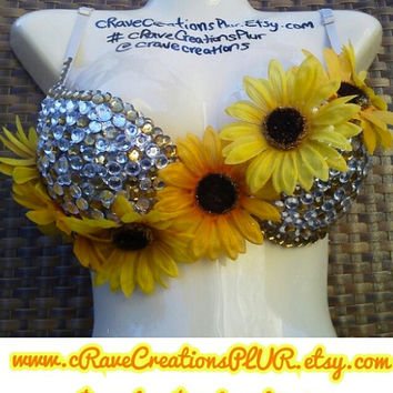Sunflower Rave Bra Outfit Custom Rhinestone Bling Jewels Blingy Flower EDC Ultra Costume