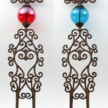 Cast Iron  Garden Stakes Set of 2.  Red & Blue Glass Believe & Dream