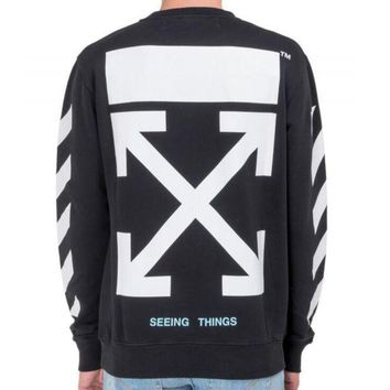 ac NOVQ2A OFF-WHITE autumn and winter new arrow striped crewneck sweater Black