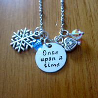 "Disney Inspired Princess Elsa Necklace. ""Once Upon A Time"". Frozen. Silver colored, Hand Stamped, Swarovski crystals. FREE shipping."