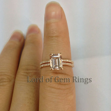 6x8mm Emerald Morganite Engagement Ring with Wedding Ring in 14K Rose Gold Wedding Set Promise Bridal Jewelry
