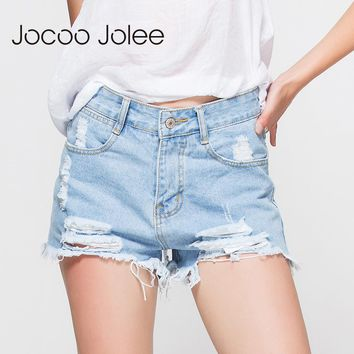 Fashion Women's Jeans Mid Waist Denim Shorts Casual Hole Shorts Light Blue Denim Girls Jean Shorts