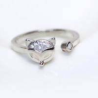 Personalized zircon small fox 925 sterling sliver ring, a perfect gift