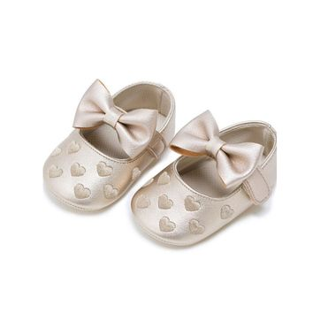 MSMAX Baby Shoes Leather Butterfly-Knot Heart Print Mary Jane Soft Bottom Girls Dress
