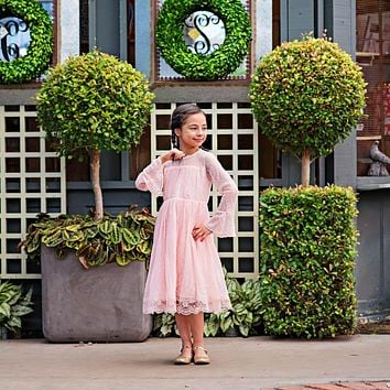 Pink Lace Long Sleeve Carmella Midi Knee Tea Length Dress