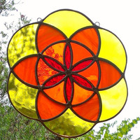 Seed of Life Sacred Geometry Orange Yellow and Red Mandala Stained Glass Sun Catcher Tiffany Glass Art Ready to Ship Free Shipping Gift Idea