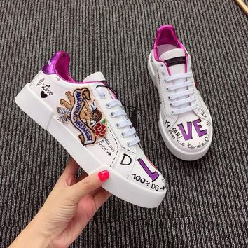 Dolce & Gabbana D&g Calfskin Sneakers With Embroidered Patch - Best Online Sale