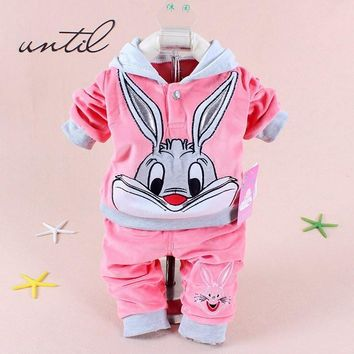 Baby Toddler Autumn Clothes Cotton Rabbit Hello Kitty Cat Sweater Hooded Pants Suits Velvet Infant Outerwear Boys Girls Clothing