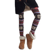 Fashion Women Winter Pants Multi-Colors Warm Leggings Knitted Snowflakes Skinny Pants Leggings