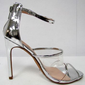 Malone-1 Strappy Lucite Clear Stiletto High Heel Open Toe Sandal Shoe Silver