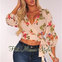 Cream Floral Ruched Ruffle Sleeves Wrap Top
