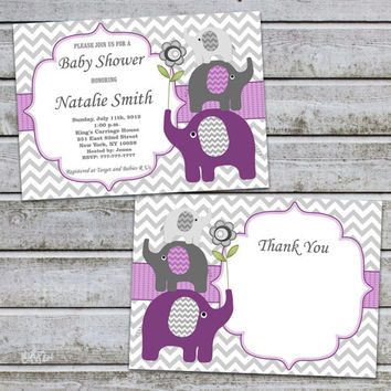 Purple Baby Shower Invitation Girl Elephant Baby Shower Invitation Printable Baby Shower Invites Purple (50pa) Free Thank You Card