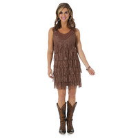 Wrangler Womens Preimum Patch Lace Sleeveless Tiered Dress