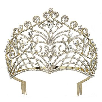 DK FASHION Princess Crystal Girls Hair Tiara Crown Large Hair Combs hair jewelry