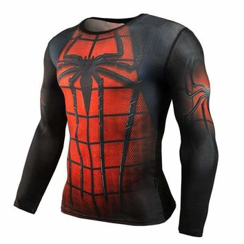 Spiderman Superhero Long-Sleeve Compression T-Shirt