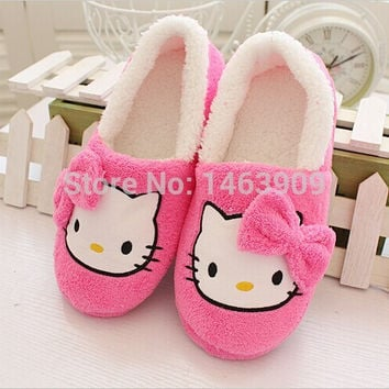Winter Home Slippers For Women Cartoon Hello Kitty Indoor Shoes Warm House Shoes Plush Slippers With Bowtie Loafers Pantuflas