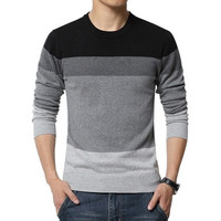 2016 New Autumn Fashion Brand Casual Sweater O-Neck Striped Slim Fit Knitting Mens Sweaters And Pullovers Men Pullover Men 5XL DBC [9325957444]