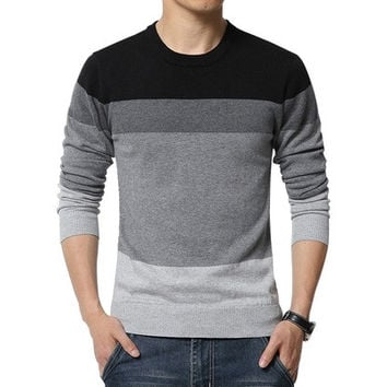 2016 New Autumn Fashion Brand Casual Sweater O-Neck Striped Slim Fit Knitting Mens Sweaters And Pullovers Men Pullover Men 5XL DBC [8833473740]