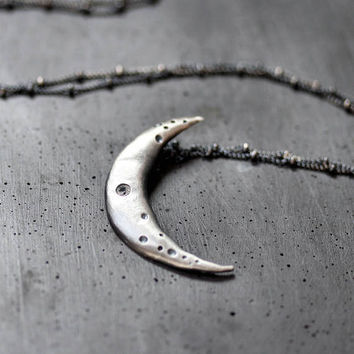 Crescent Moon Necklace, Gunmetal Gray Cratered Moon White Sapphire Gemstone Oxidized Sterling Silver Necklace Space Galaxy - Crisium