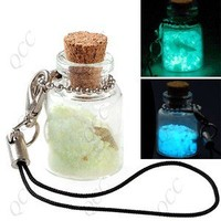 Glow in the Dark Love Sand Rock Lucky Cell Phone Charm Keychain Strap Glowing